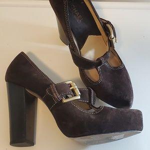 Michael Michael Kors Brown Chucky Heel Suede Shoe